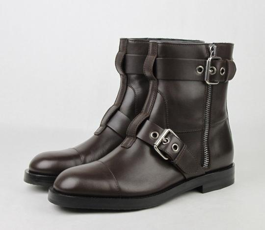 Gucci Brown Men's Leather Sella Ankle Biker Boot 9 G / Us 9.5 368430 Buv00 2140 Shoes Image 1