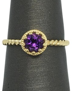 Other 14K Solid Yellow Gold Swirl Solitaire Natural Amethyst Ring