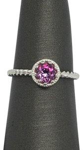 Other 14K Solid White Gold Twist Solitaire Natural Pink Topaz Ring