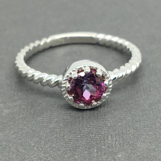 Other 14K Solid White Gold Twist Solitaire Natural Pink Topaz Ring Image 1