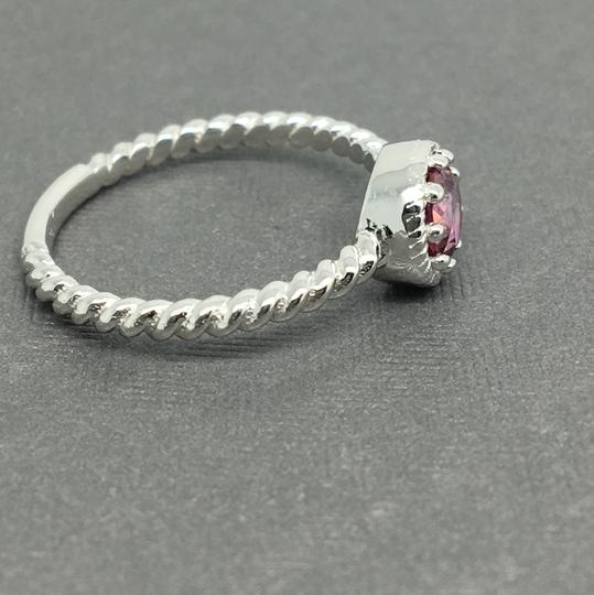 Other 14K Solid White Gold Twist Solitaire Natural Pink Topaz Ring Image 2