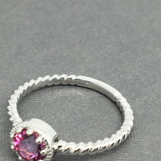 Other 14K Solid White Gold Twist Solitaire Natural Pink Topaz Ring Image 4