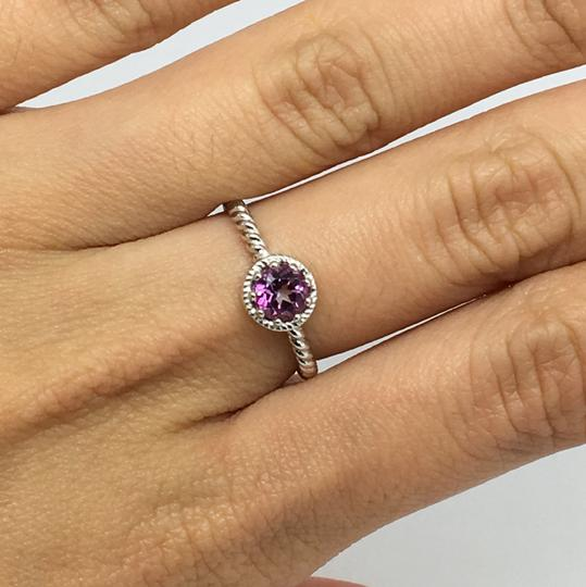 Other 14K Solid White Gold Twist Solitaire Natural Pink Topaz Ring Image 5