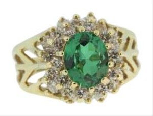 Antique Thai Princess Emerald And Diamond Ring- 14k Yellow Gold