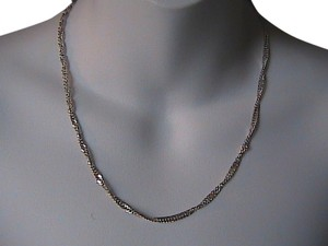 Vintage Italy Sterling Silver Diamond Cut Chain