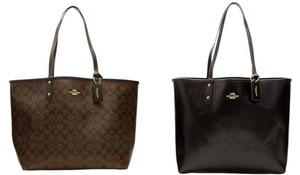 Coach Signature Monogram Reversible Detachable Pouch Reversible Tote in Dark Brown /black