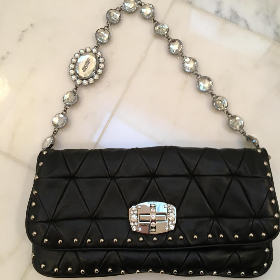 9e421e73897e Miu Miu Quilted Studded Leather black with rhinestones and silver studs  Clutch Image 0 ...