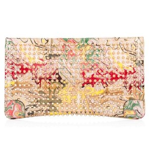 Christian Louboutin Spike Patent Leather Nude Studded Marble Nude Clutch