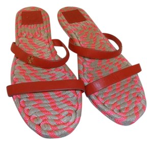 Tory Burch 2 Leather Bands red Sandals