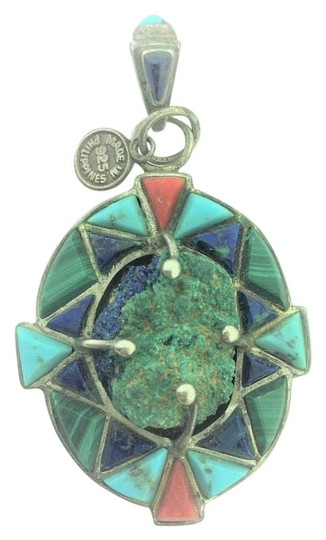 Preload https://img-static.tradesy.com/item/20303190/antique-lapis-lazuli-and-turquoise-pendant-sterling-silver-necklace-0-1-540-540.jpg