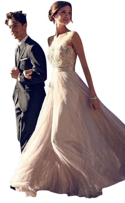 Item - Dusty Pink Lace Bobbinet Tulle Double-faced Satin; Acetate Lining Lucca Maxi Vintage Wedding Dress Size 6 (S)