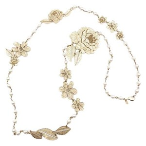 Chanel RARE Chanel Gold Lace Flower Pearl Long Necklace