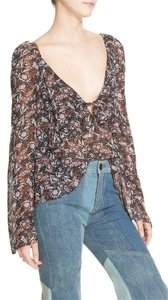 Free People Boho V-neck Bell Sleeves Top Black Paisely
