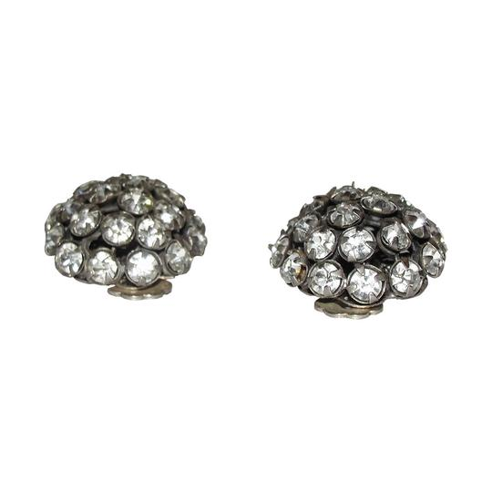 Miriam Haskell Miriam Haskell Dome Clear Rhinestone Earrings Image 1