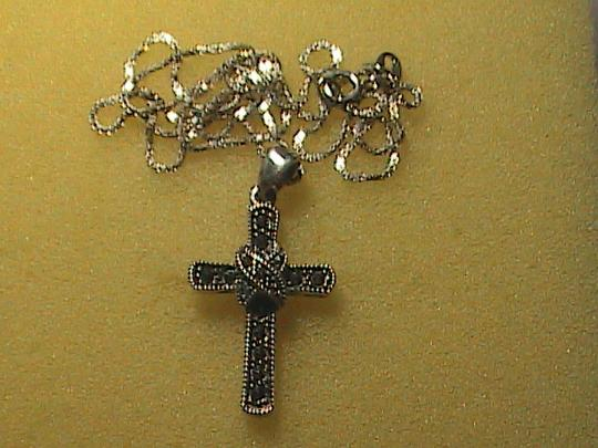 Vintage Italy Sterling Silver Marcasite Cross Necklace