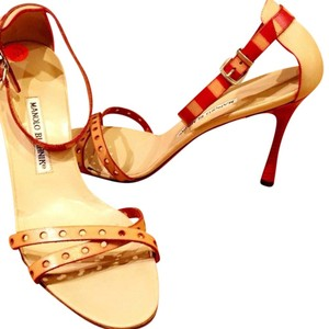 Manolo Blahnik red and tan Formal
