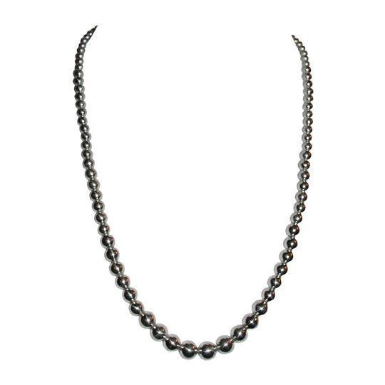 Other Shiny Sterling Silver Graduated Ball Bead Necklace Image 2