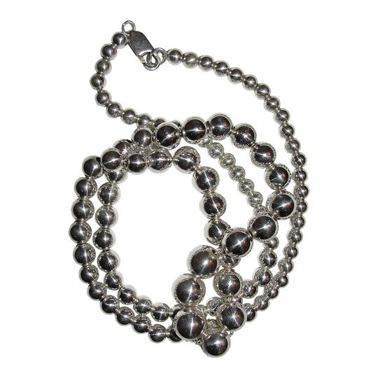 Other Shiny Sterling Silver Graduated Ball Bead Necklace Image 4