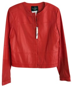 Rachel Roy Leather Large Motto Red Leather Jacket