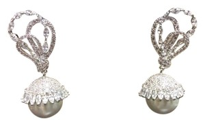 Other 14mm Shell Pearl Cubic Zirconia Fashion Post Earring Simulated Diamond