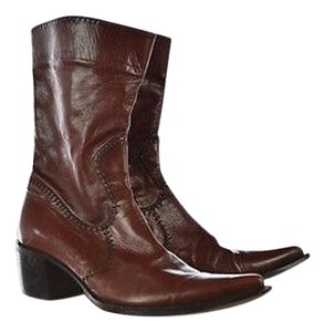 Rocco P. Womens Mid Calf 4010 Leather Heels Brown Boots