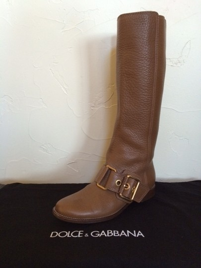 Dolce & Gabbana Tall Brass Classic Leather camel Boots