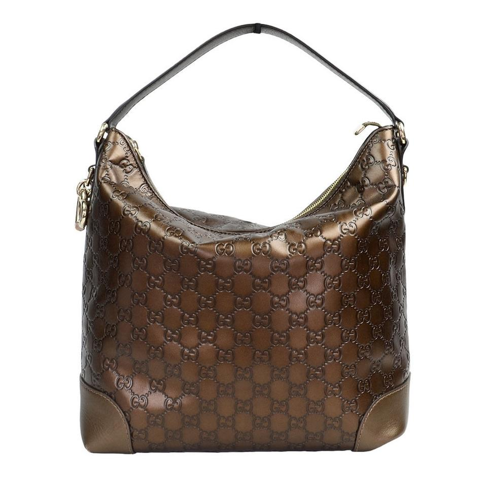 a6ac8cec4ad Gucci Guccissima Leather Bamboo Bar Shoulder Bronze Brown Hobo Bag ...