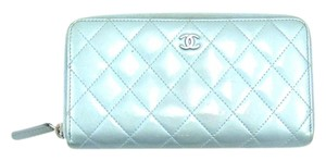 Chanel Zippy Quilted Cambon Patent Leather Zip Clutch Long Wallet