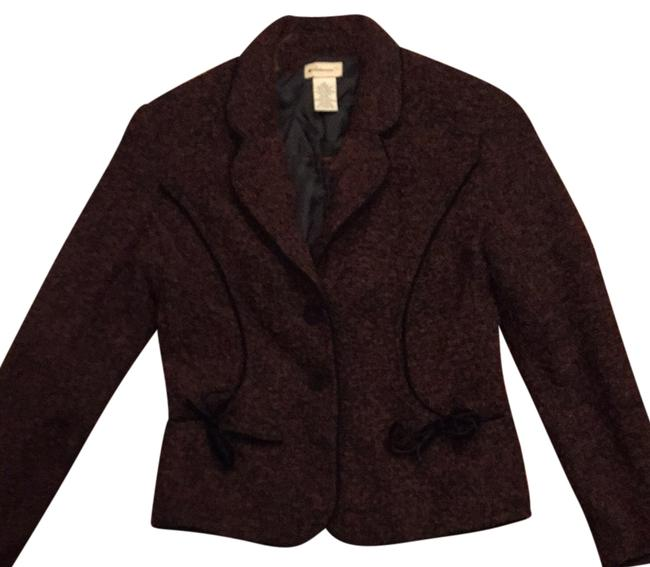Elevenses Tweed Jacket Sophisticated Anthropology Burgundy/black Blazer