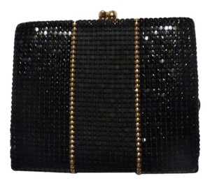 Whiting & Davis Rare black, pewter, and gold, chainmaille mesh exterior/brown logo print fabric interior Clutch