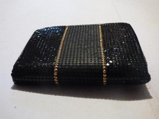 Whiting & Davis Rare Clutch/Wallet Rare Color Combo Mint Vintage Multiple Compartment Unusual W&d Style black, pewter, and gold, chainmaille mesh exterior/brown logo print fabric interior Clutch Image 1