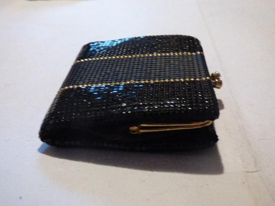 Whiting & Davis Rare Clutch/Wallet Rare Color Combo Mint Vintage Multiple Compartment Unusual W&d Style black, pewter, and gold, chainmaille mesh exterior/brown logo print fabric interior Clutch Image 2