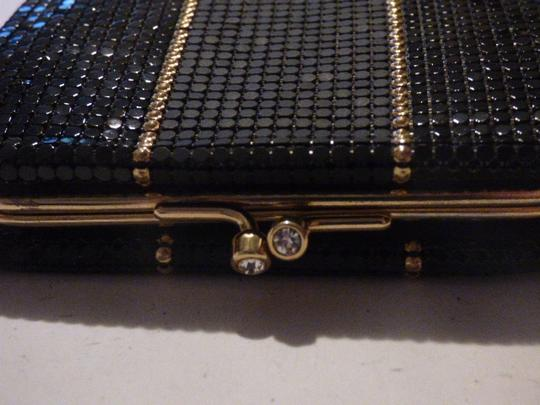 Whiting & Davis Rare Clutch/Wallet Rare Color Combo Mint Vintage Multiple Compartment Unusual W&d Style black, pewter, and gold, chainmaille mesh exterior/brown logo print fabric interior Clutch Image 3