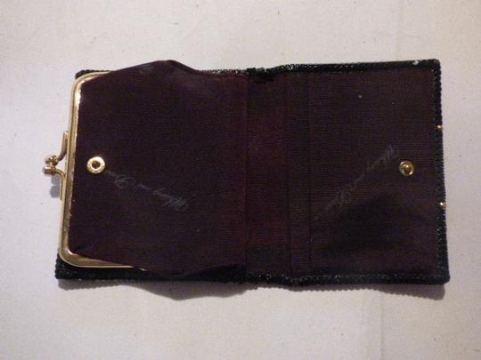 Whiting & Davis Rare Clutch/Wallet Rare Color Combo Mint Vintage Multiple Compartment Unusual W&d Style black, pewter, and gold, chainmaille mesh exterior/brown logo print fabric interior Clutch Image 5