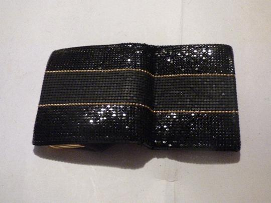 Whiting & Davis Rare Clutch/Wallet Rare Color Combo Mint Vintage Multiple Compartment Unusual W&d Style black, pewter, and gold, chainmaille mesh exterior/brown logo print fabric interior Clutch Image 9
