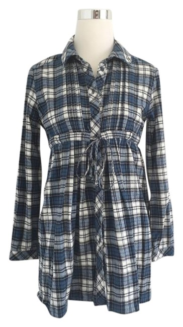 Preload https://img-static.tradesy.com/item/20304168/drew-blue-white-plaid-button-dress-tunic-size-4-s-0-1-650-650.jpg