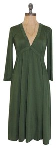 J.Crew short dress GREEN Deep Neck Flare Mid Length Tea on Tradesy
