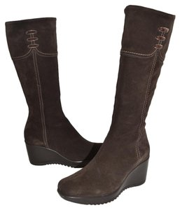 La Canadienne Combat Moto Biker Motocycle Wedge dark brown Boots
