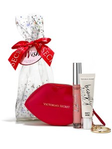 Victoria's Secret NEW Victoria's Secret red lip coin purse Pinky Shine Lipgloss GIFT SET