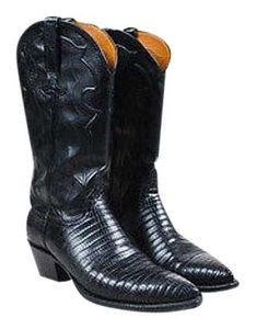Lucchese Lizard Cowboy Black Boots