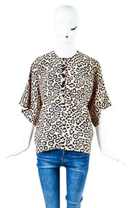 Givenchy Black Pink Silk Leopard Print Ss Loose Fit Top Beige