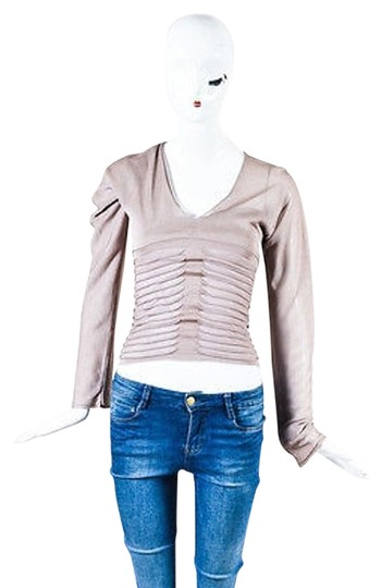 Saint Laurent Yves Beige Sheer Ls Knit Sweater Top on sale