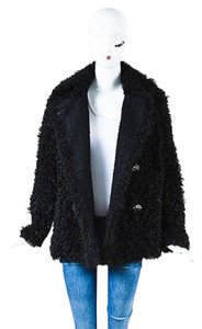 Chanel Curly Fur Double Breasted Pea Coat