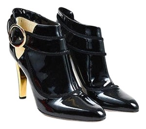 Jimmy Choo Gold Tone Patent Leather Chicago Ankle Black Boots