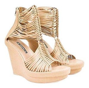 Ann Demeulemeester Leather Caged Open Toe Platform Wedge Beige Sandals