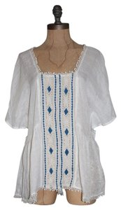 Anthropologie Embroidered Hippie Bohemian Bohemian High Low Top WHITE