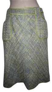 WD.NY Figure Skirt tweed in blues greens, and browns