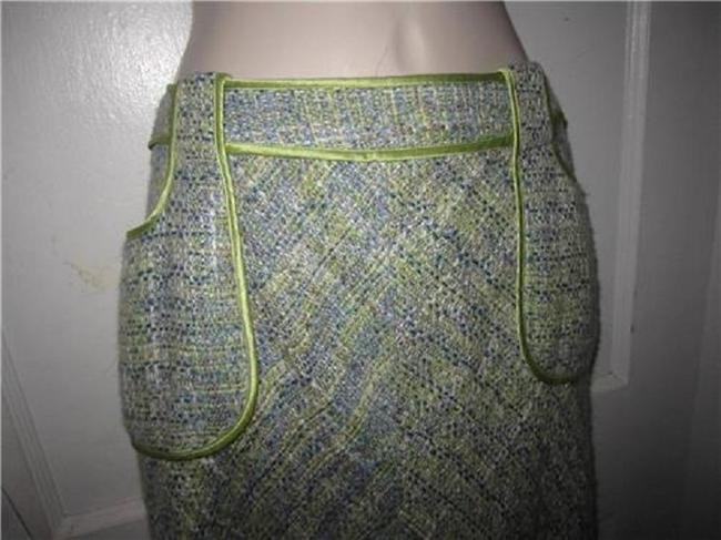 WD.NY Figure Flattering Perfect To Mix/Match Design A-line Style Mint Condition Skirt tweed in blues greens, and browns Image 10
