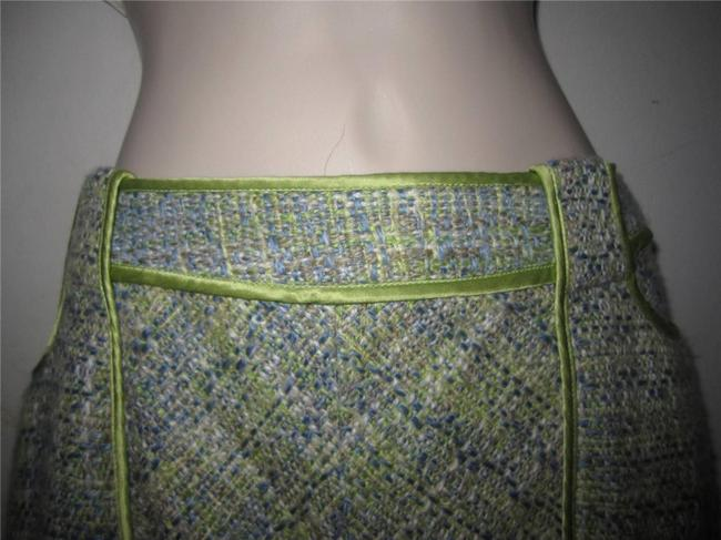 WD.NY Figure Flattering Perfect To Mix/Match Design A-line Style Mint Condition Skirt tweed in blues greens, and browns Image 3