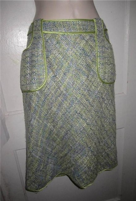 WD.NY Figure Flattering Perfect To Mix/Match Design A-line Style Mint Condition Skirt tweed in blues greens, and browns Image 8